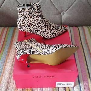 "BETSEY JOHNSON'S 2"" Red Kitten-Heel Booties"